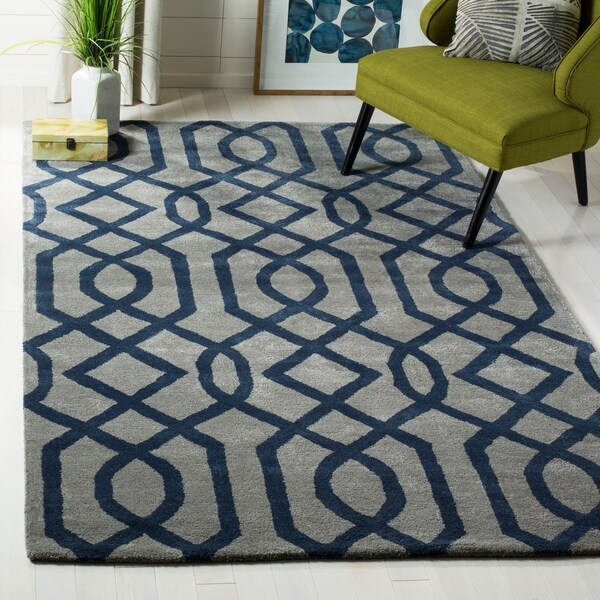 "Safavieh Hand-made Soho Grey/ Dark Blue Wool Rug - 8'3"" x 11'"