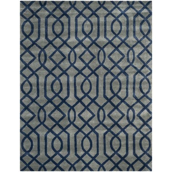 Safavieh Hand-made Soho Grey/ Dark Blue Wool Rug - 8'3 x 11'