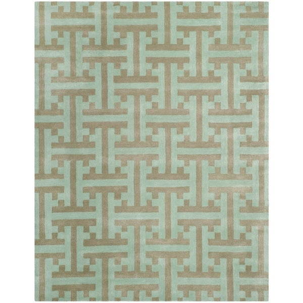 Safavieh Hand-made Soho Light Blue Wool Rug (5' x 8') - 5' x 8'