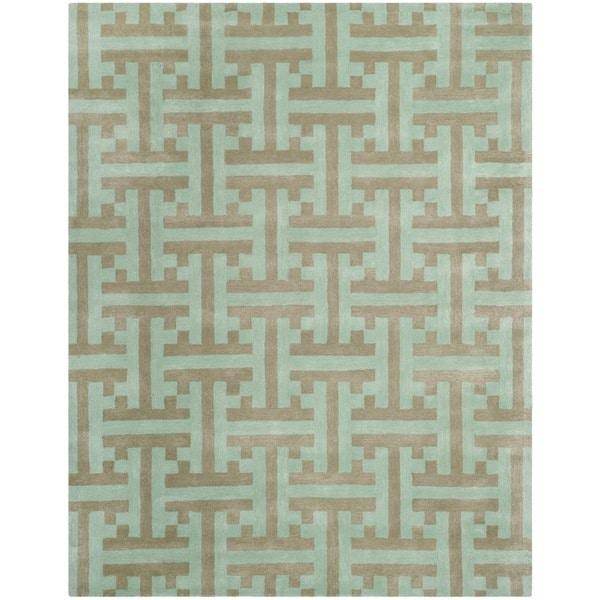 Safavieh Hand-made Soho Light Blue Wool Rug - 7'6 x 9'6