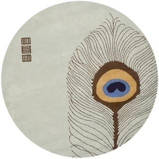 Safavieh Handmade Peacock Feather Grey New Zealand Wool Rug (6' Round)