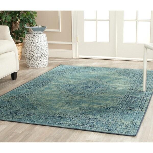Safavieh Vintage Oriental Turquoise Distressed Silky Viscose Rug (6'7 x 9'2)