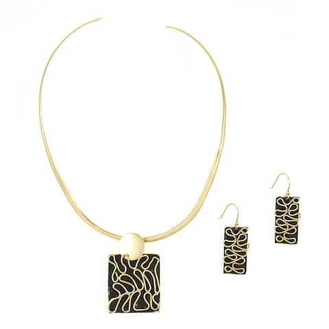 Handmade Brass Abstract Wave Necklace and Earring Set (Mexico)