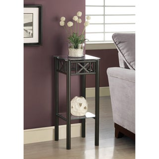Tempered Gl Top Black Plant Stand