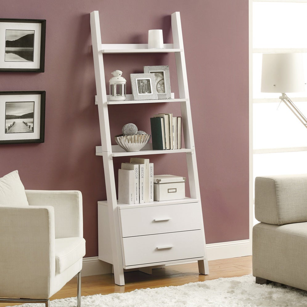 "Monarch White Ladder Bookcase with Drawers (White 69""H La..."