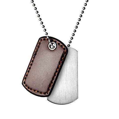 Stainless Steel and Leather Men's 2-piece Dog Tag Necklace