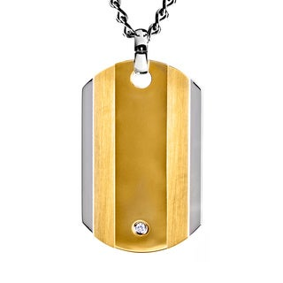 Two-tone Stainless Steel Men's Clear Cubic Zirconia Dog Tag Necklace