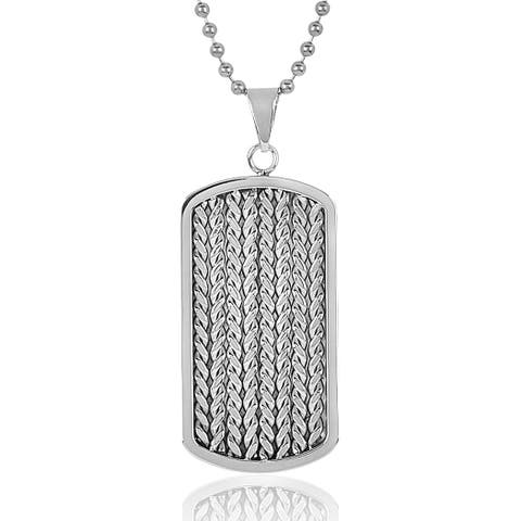 Men's Stainless Steel Cable Inlay Dog Tag Necklace