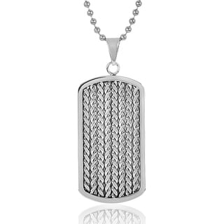 Men's Stainless Steel Cable Inlay Dog Tag Necklace - Silver
