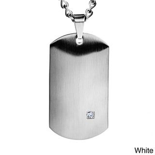 Crucible Colored Steel Men's Clear Cubic Zirconia Satin Dog Tag Necklace