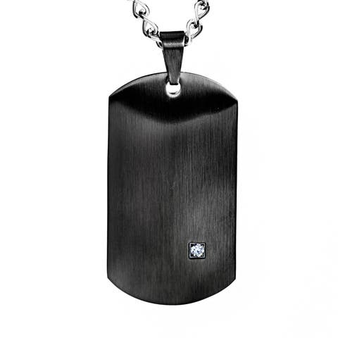 Crucible Black Plated Stainless Steel Men's Clear Cubic Zirconia Satin Dog Tag Necklace