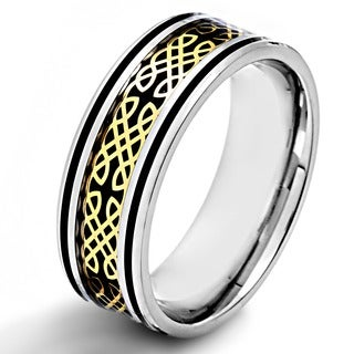 Crucible Polished Stainless Steel Carbon Fiber Inlay Gold Celtic Dara Knot Comfort Fit Ring - 8mm Wide