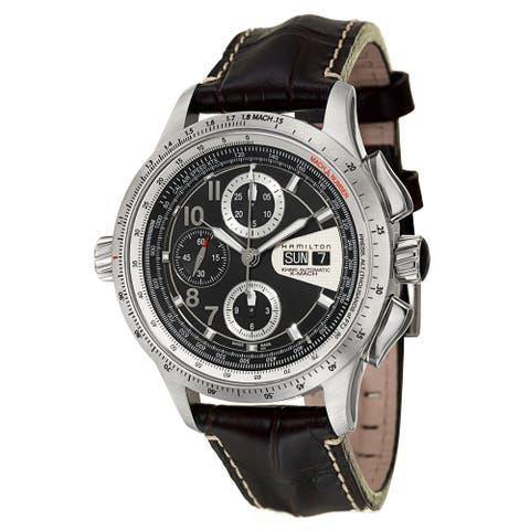 Hamilton Men's 'Khaki Aviation' Stainless Steel/ Black Carbon Fiber Chronograph Watch