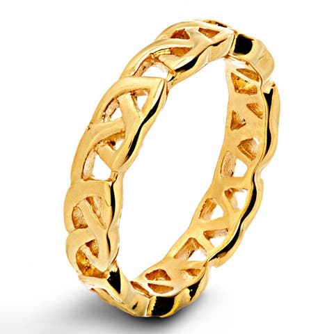 Men's Gold Plated Polished Stainless Steel Open Celtic Eternity Knot Ring - 4mm Wide