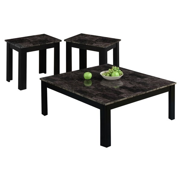 3-Piece Black/Grey Marble Top Square Table Set