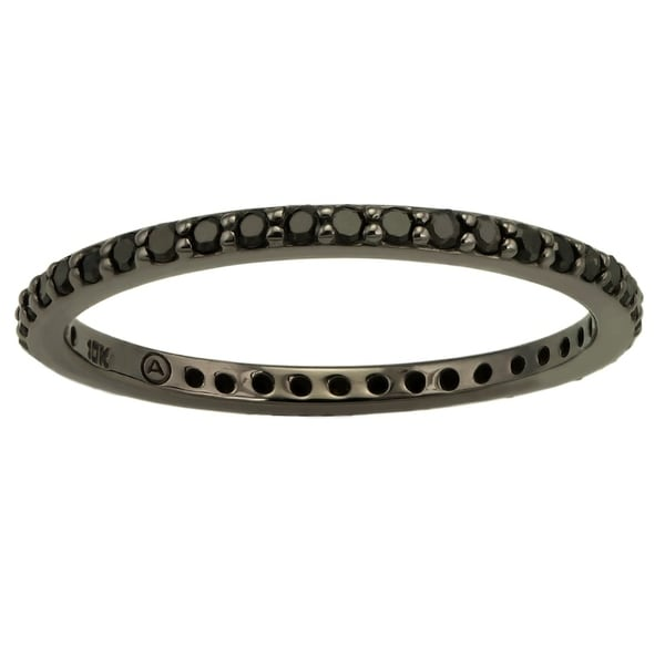 10k Black Gold 1/2ct TDW Black Diamond Eternity Band Ring