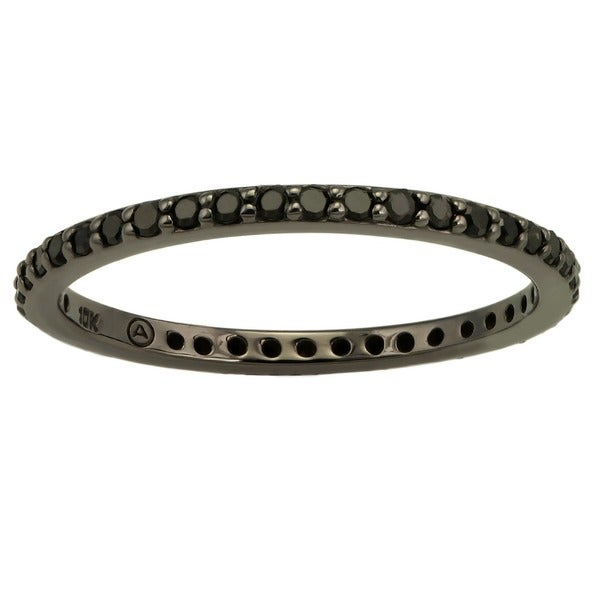 Beverly Hills Charm 10k Black Gold 1/2ct TDW Black Diamond Eternity Band Ring