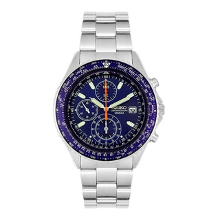 Seiko Men's Blue Dial Stainless Steel Multi-function Watch