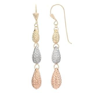 Gioelli 14k Tri-color Gold Diamond-cut Teardrop Dangle Earrings