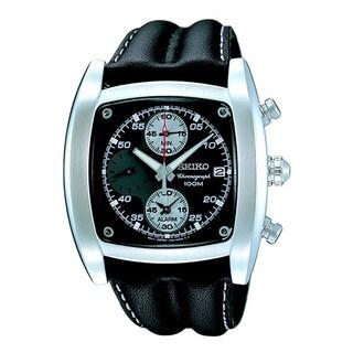 Seiko Men's Black Leather Strap Watch