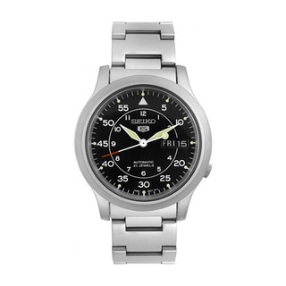 Link to Seiko Men's '5 Automatic ' Silvertone Stainless Steel Black Dial Automatic Watch Similar Items in Men's Watches