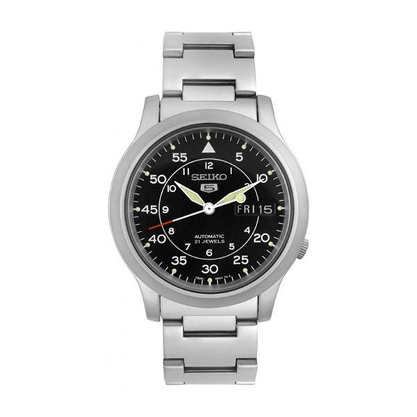 Seiko Men's '5 Automatic ' Silvertone Stainless Steel Black Dial Automatic Watch. Opens flyout.