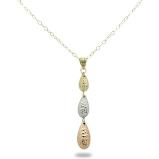 Gioelli 14k Tri-color Gold Diamond-cut Teardrop Necklace