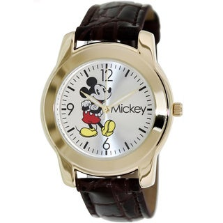 Disney Men's Brown Leather Strap 'Mickey' Watch