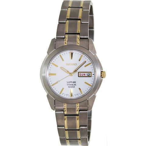 Seiko Men's Two-tone Titanium White Dial Quartz Watch