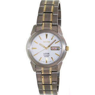 Seiko Men's SGG733 Two-tone Titanium White Dial Quartz Watch