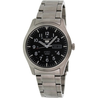 Seiko Men's '5 Automatic' Black Dial Steel Watch