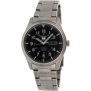 Seiko Men's '5 Automatic' Black Dial Steel Watch