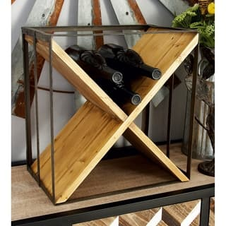 Modern 16 X 15 Inch Square Metal And Wood Wine Rack By Studio 350