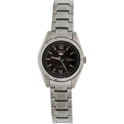 Seiko Women's '5 Automatic' Silvertone Stainless Steel Automatic Watch