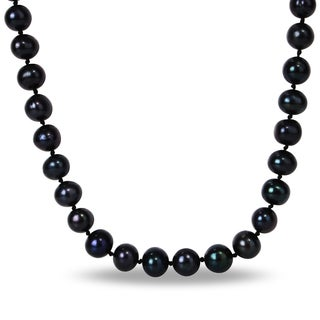 Black Licorice Cultured Freshwater Pearl Necklace (10-11 mm) with Bonus Earrings