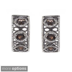 Rhodium-plated Sterling Silver Smoky Quartz or Citrine and 5/8ct TDW White Diamond Cuff Earrings (JK, I2-I3)