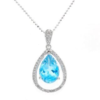 14k Gold Blue Topaz and 1/4ct TDW Diamond Halo Necklace (J-K, I2-I3)