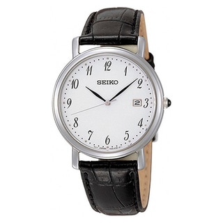 Seiko Men's White Dial Brown Leather Quartz Watch