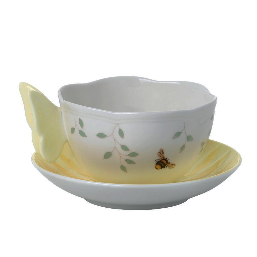 Lenox Butterfly Meadows Yellow Butterfly Cup/ Saucer Set,...