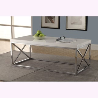 Silver Orchid Andriot Glossy White/ Chrome Metal Cocktail Table