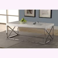 Clay Alder Home Pacific Glossy White/ Chrome Metal Cocktail Table