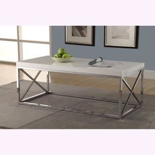 Glossy White/ Chrome Metal Cocktail Table