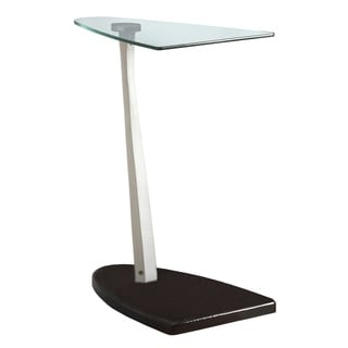 Tempered Glass Black/ Silver Accent Table