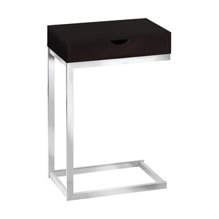 Single-drawer Chrome Metal Cappuccino Accent Table