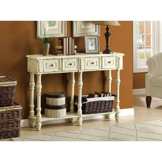 Traditional Antique White Veneer 48-inch Console Table