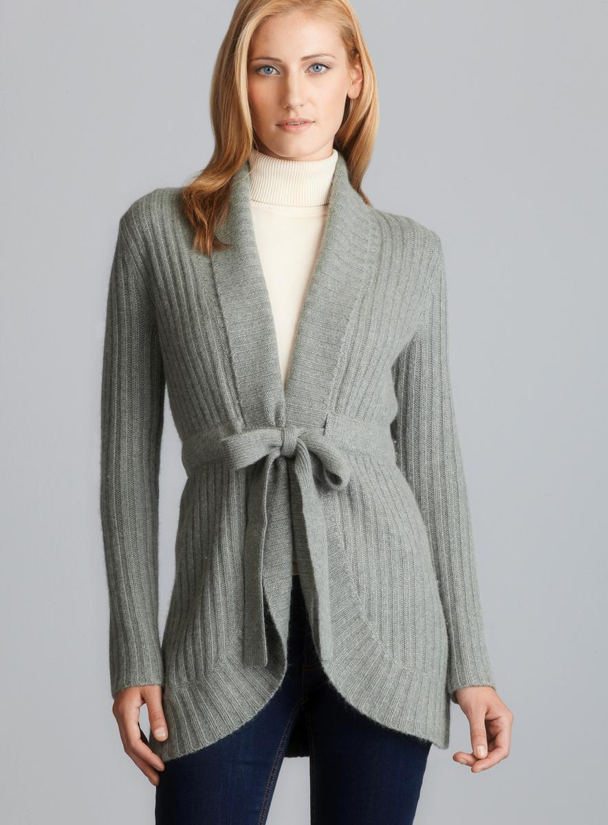 Beth Bowley Belted Shawl Collar Ribbed Sweater Jacket - Free ...