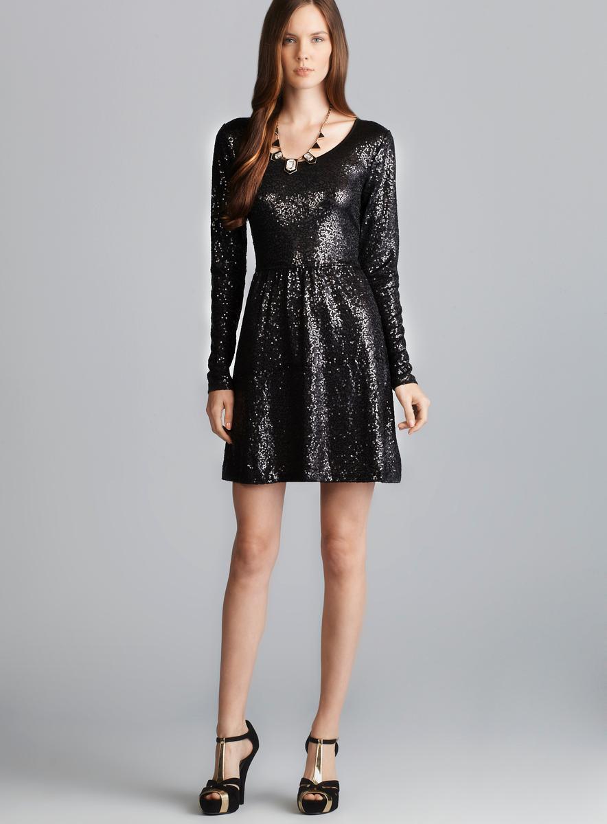 Kensie Black Long Sleeve Scoop Neck Sequin Dress - Free Shipping ...