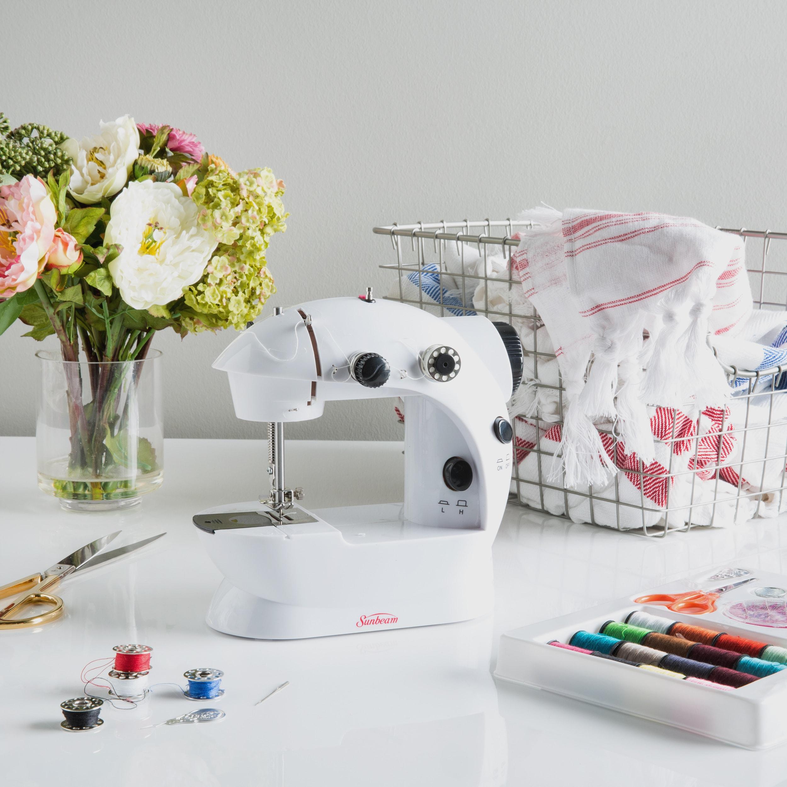 Sunbeam Mini Sewing Machine with Kit (White Mini Sewing M...
