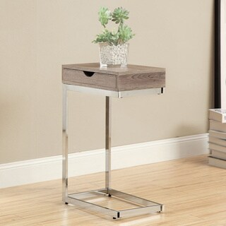 Dark Taupe Hollow Core Chrome Metal Accent Table