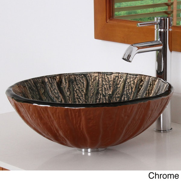 antique copper design tempered glass bathroom vessel sink with faucet combo free shipping. Black Bedroom Furniture Sets. Home Design Ideas